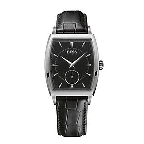 Hugo Boss men's stainless steel black leather strap watch - Product number 1151665