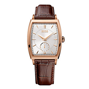 Hugo Boss men's rose gold-plated brown leather strap watch - Product number 1151754