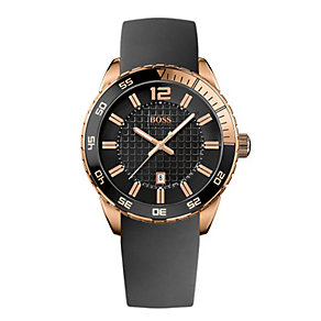 Hugo Boss men's rose gold-plated black strap watch - Product number 1151770