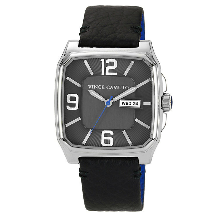 Vince Camuto Men's Square Stainless Steel Black Strap Watch - Product number 1152742