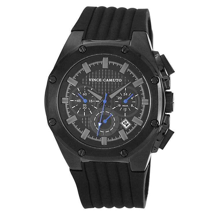 Vince Camuto Men's Black Ion-Plated Silicone Strap Watch - Product number 1152769