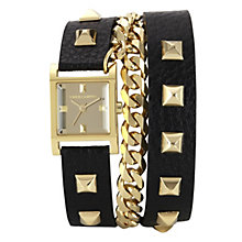 Vince Camuto Ladies' Gold Tone Black Leather Strap Watch - Product number 1152890