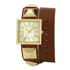 Vince Camuto Ladies' Gold-Plated Brown Leather Strap Watch - Product number 1152939