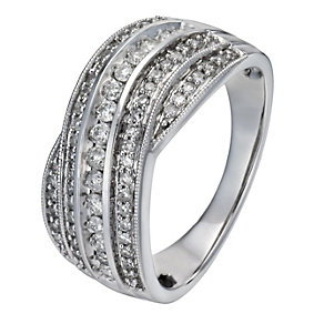 18ct white gold 0.50ct diamond crossover ring - Product number 1153412