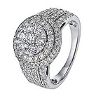 18ct white gold 1 1/2 carat diamond halo cluster ring - Product number 1153684