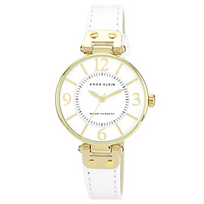 Anne Klein Ladies' Gold Tone White Leather Strap Watch - Product number 1153870