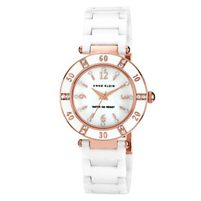 Anne Klein Ladies' Ceramic & Rose Gold Tone Bracelet Watch - Product number 1153889