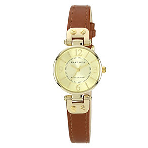 Anne Klein Ladies' Rose Gold Tone Brown Leather Strap Watch - Product number 1153919
