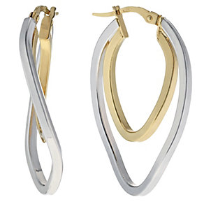 Silver & 9ct yellow gold oval double creole hoop earrings - Product number 1164899