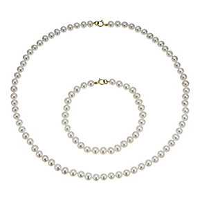 9ct yellow gold cultured freshwater pearl set - Product number 1167359