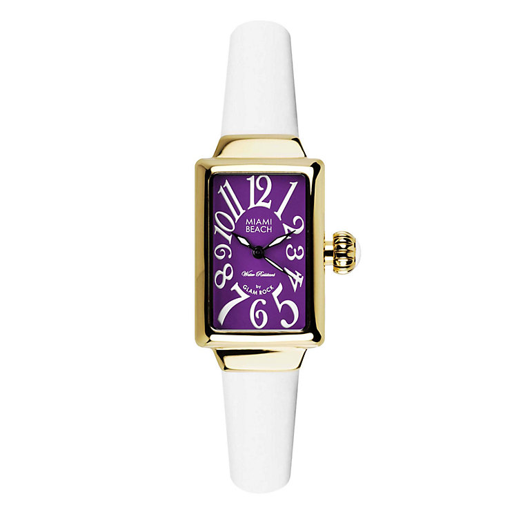 Glam Rock Miami Beach Ladies' White Silicone Strap Watch - Product number 1210041