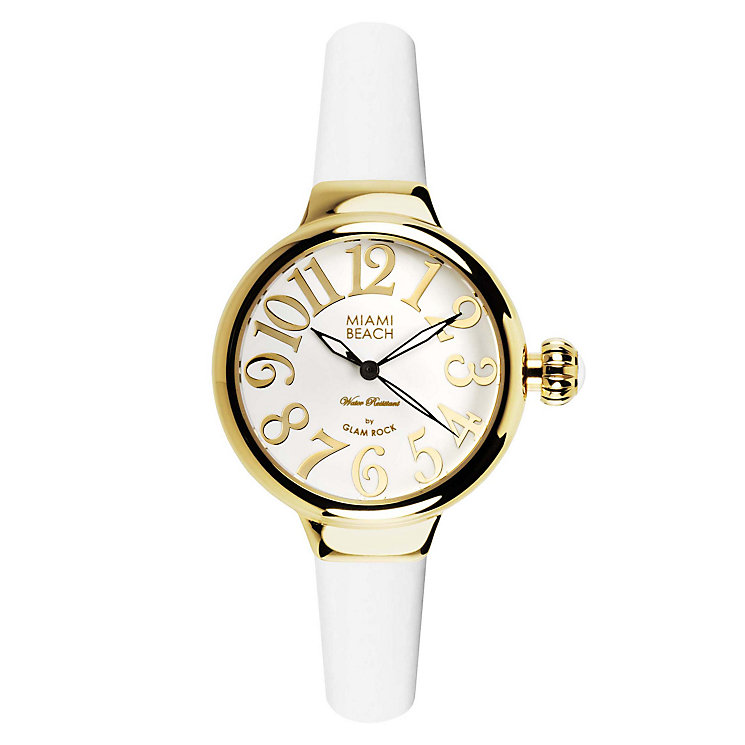 Glam Rock Miami Beach Ladies' White Silicone Strap Watch - Product number 1210068