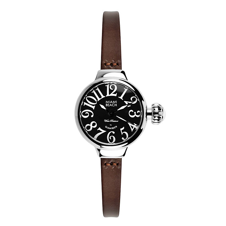 Glam Rock Miami Beach Black Dial Brown Leather Strap Watch - Product number 1210157
