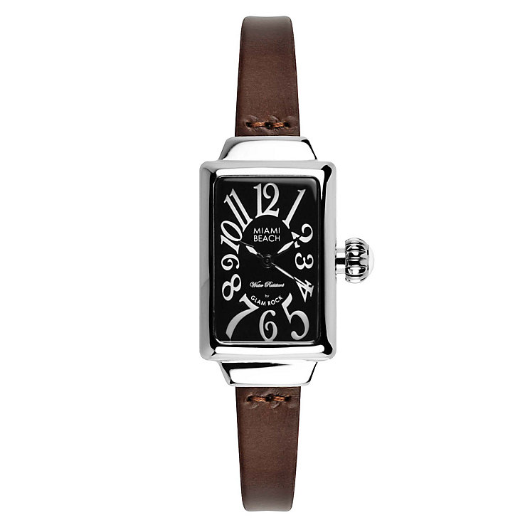 Glam Rock Miami Beach Ladies' Brown Leather Strap Watch - Product number 1210165