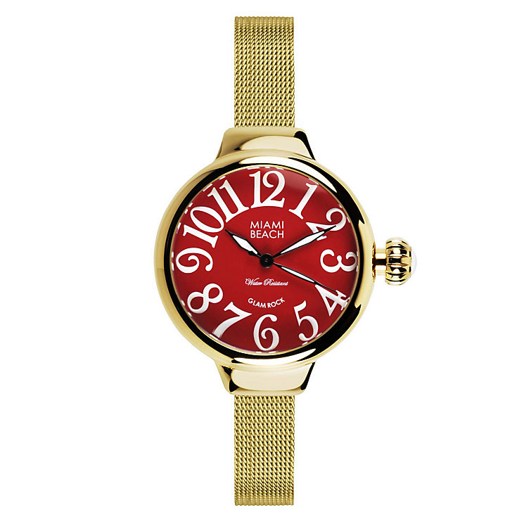 Glam Rock Miami Beach Ladies' Gold Tone Mesh Bracelet Watch - Product number 1210181