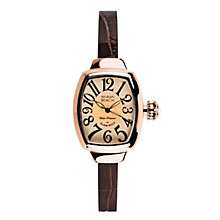 Glam Rock Miami Beach Rose Tone Brown Leather Strap Watch - Product number 1210262