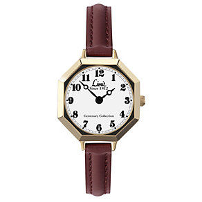 Limit Ladies' Gold-Plated Brown Leather Strap Watch - Product number 1210319