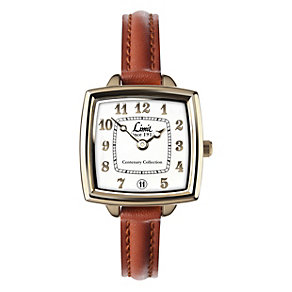 Limit Ladies' Square Gold-Plated Brown Leather Strap Watch - Product number 1210343