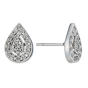 Sterling silver 0.15ct diamond pear drop stud earrings - Product number 1212397