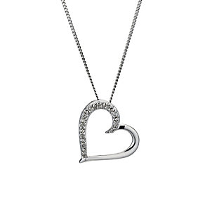 9ct white gold diamond heart pendant - Product number 1212419