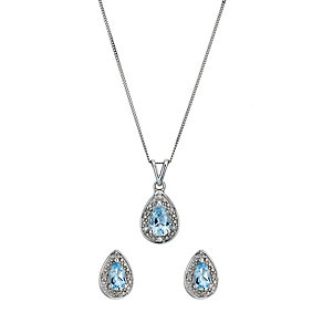 9ct white gold blue topaz & diamond earrings & pendant set - Product number 1212443