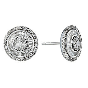 9ct white gold 0.50ct diamond cluster stud earrings - Product number 1212478