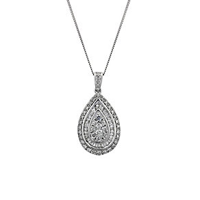9ct white gold 0.50ct diamond pear drop pendant - Product number 1212486