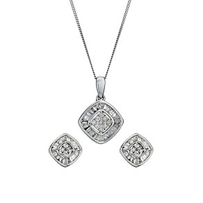 9ct white gold 0.50ct diamond earrings & pendant set - Product number 1212494