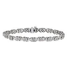 9ct white gold 2 carat diamond kiss bracelet - Product number 1212508