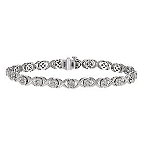 9ct white gold 2 carat diamond kiss bracelet - Product number 1212508