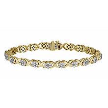 9ct yellow gold 2 carat diamond kiss bracelet - Product number 1212516