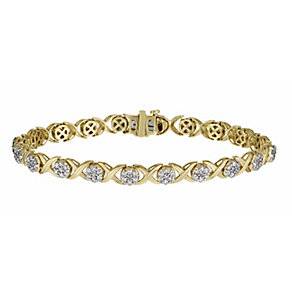 9ct yellow gold 2 carat diamond kiss bracelet - Product number 1212516