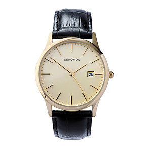 Sekonda Men's Cream Dial Black Leather Strap Watch - Product number 1213385