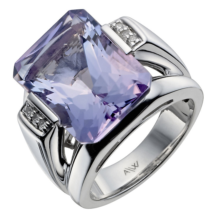 Sterling Silver Diamond & Amethyst Ring - Product number 1213415