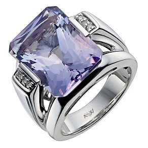 Amanda Wakeley sterling silver diamond & amethyst ring - Product number 1213415