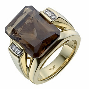 Amanda Wakeley gold-plated diamond and smokey quartz ring - Product number 1213814