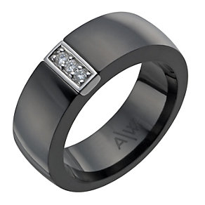Amanda Wakeley sterling silver & black ceramic diamond ring - Product number 1214225