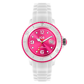 Ice-Watch Ladies' Pink Dial White Silicone Strap Watch - Product number 1220500