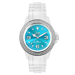 Ice-Watch Ladies' Stone Set Turquoise & White Strap Watch - Product number 1220632