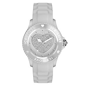 Ice-Watch Ladies' Stone Set Heart White Silicone Strap Watch - Product number 1220667