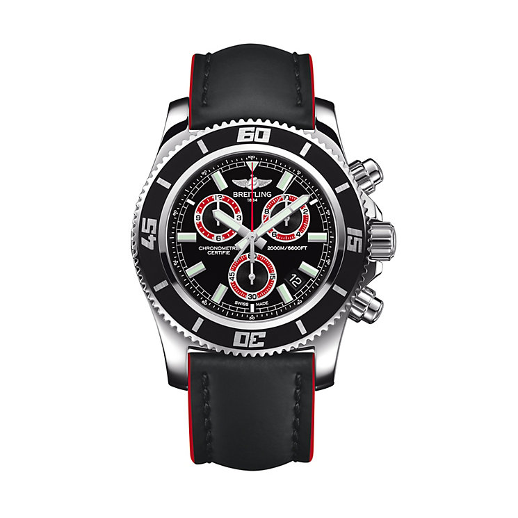 Breitling Superocean men's red rubber strap watch