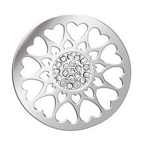 Lucet Mundi silver tone circle love heart coin - large - Product number 1225367