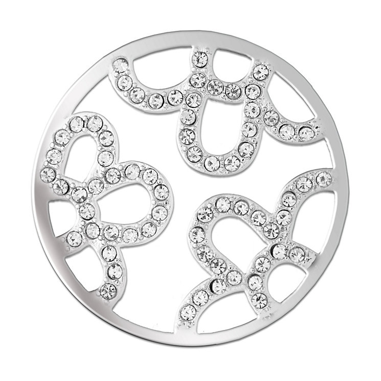 Lucet Mundi silver tone flora crystal coin - large - Product number 1225383
