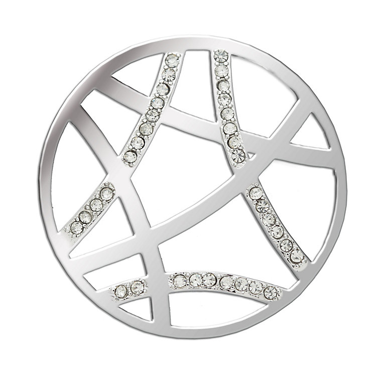 Lucet Mundi silver tone geometric crystal coin - large - Product number 1225405