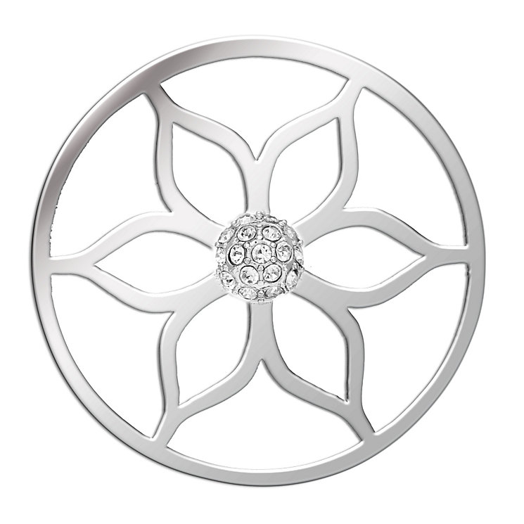 Lucet Mundi silver tone lotus crystal coin - small - Product number 1225626
