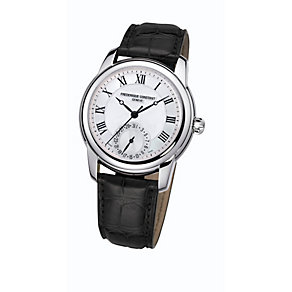 Frederique Constant men's steel black leather strap watch - Product number 1229524