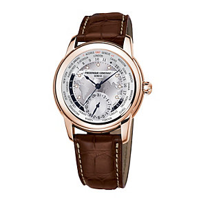 Frederique Constant Worldtimer men's brown strap watch - Product number 1229540