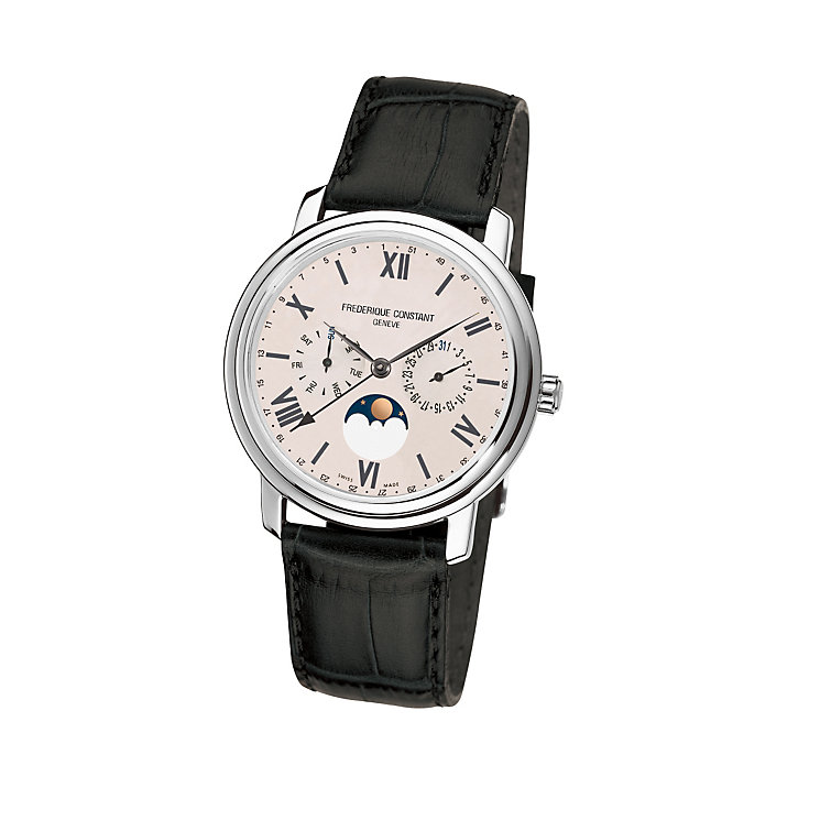 Frederique Constant men's stainless steel black strap watch - Product number 1229559