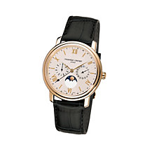 Frederique Constant men's gold-plated black strap watch - Product number 1229567