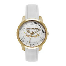 Zadig & Voltaire Ladies' Gold Tone Wings White Strap Watch - Product number 1232266